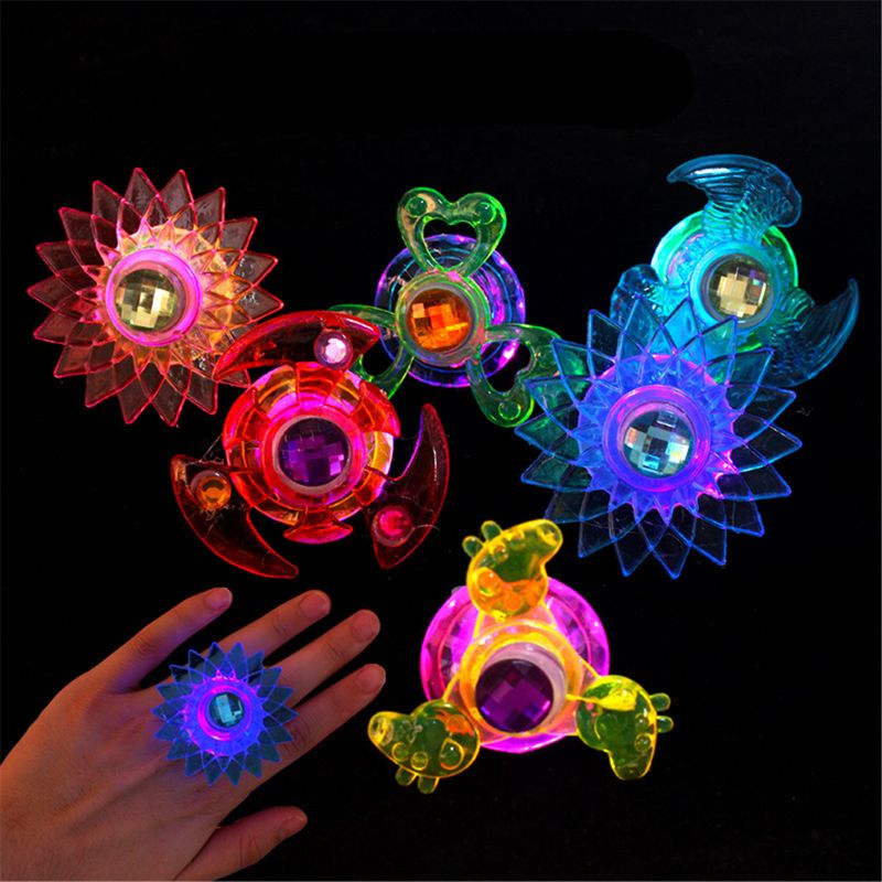New 3pcs Led Fidget Spinner Ring Flash Light Hand Spinner Gyro Stress Relief Toy Party Favor