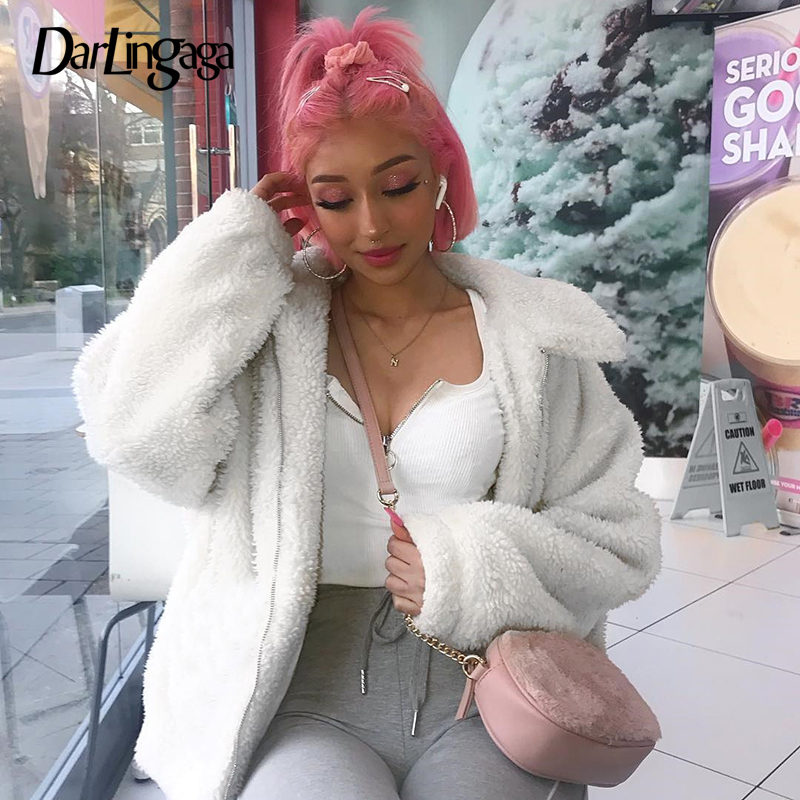 Darlingaga Fashion White Lamb Wool Winter Jacket Women Loose Faux Fur Coat Solid Zipper Warm Teddy Coats Shaggy Overcoat Outwear