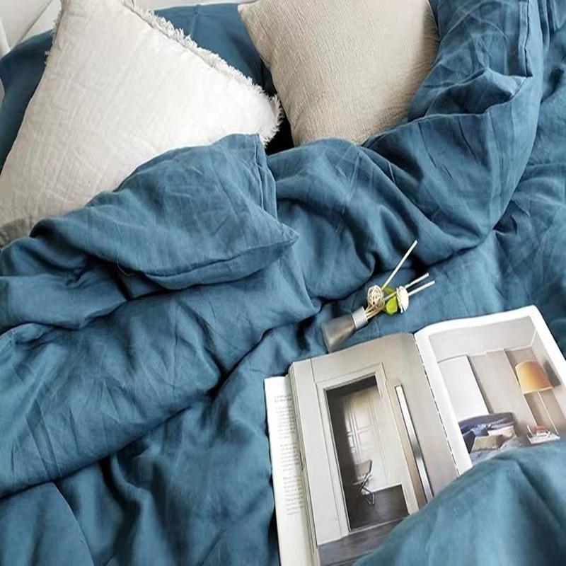 100% Hemp Antibacterial King Queen Size Washed Pink Blue Colors Flat Sheet Duvet Covet Cover 4 Pcs Set Customize