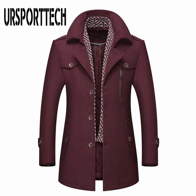 Winter Men's Wool Coat 2020 New Fashion Middle Long Scarf Collar Cotton-padded Thick Warm Woolen Coat Male Trench Coat Overcoat 4