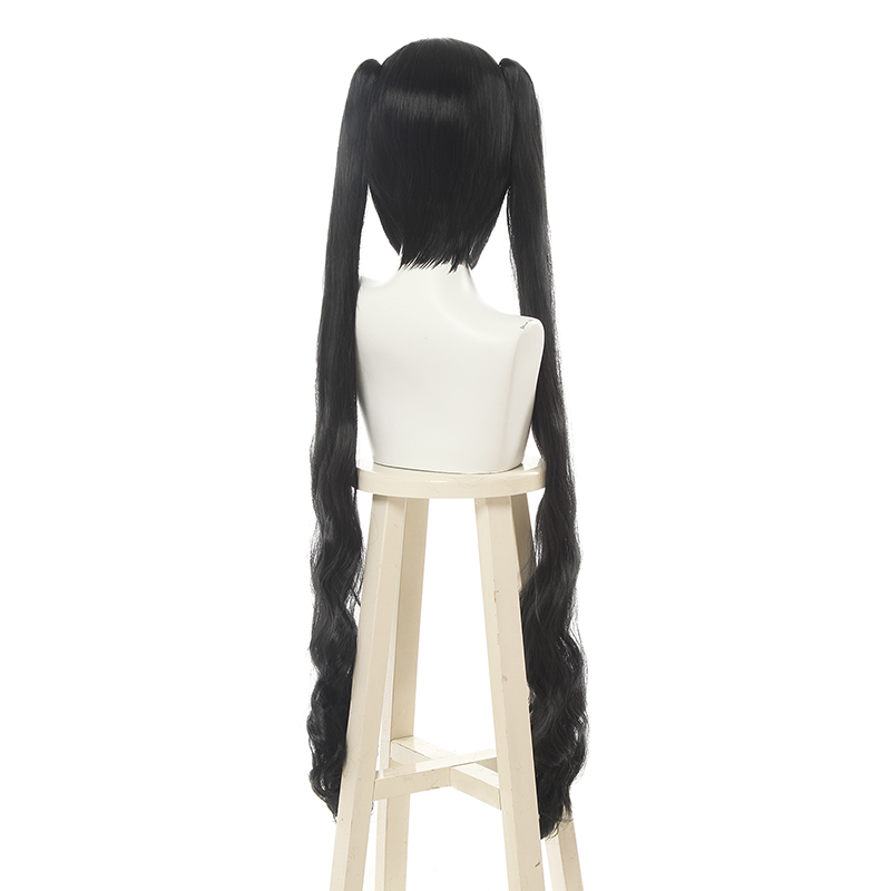 Image 2 - L email wig Brand New Sword Oratoria Hestia Kami Sama Cosplay Wigs 100cm Black Loose Wavy Synthetic Hair Perucas Cosplay Wig-in Synthetic None-Lace  Wigs from Hair Extensions & Wigs