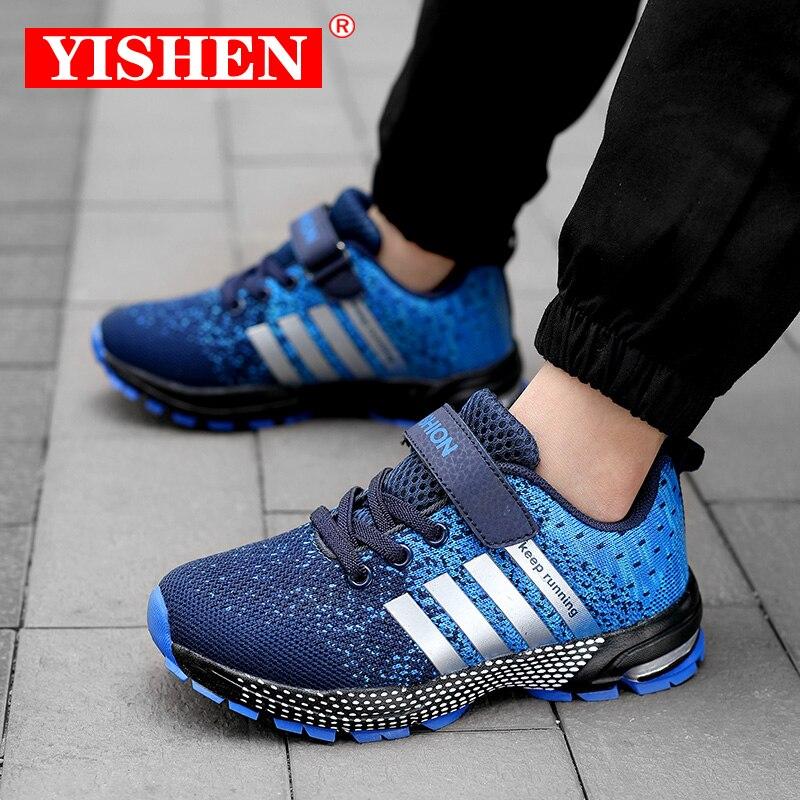 Детские кроссовки YISHEN для мальчиков и девочек, дышащие уличные, повседневная спортивная обувь для начинающих ходить