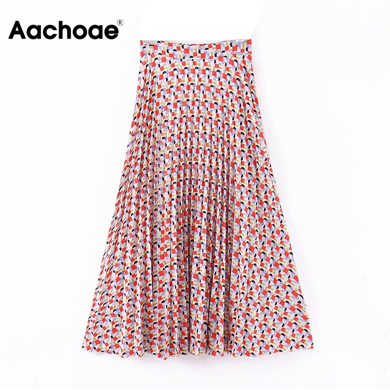 Women Fashion Geometric Print Pleated Skirts 2020 High Waist Stylish Long Skirt Side Zipper Ladies A Line Midi Skirt