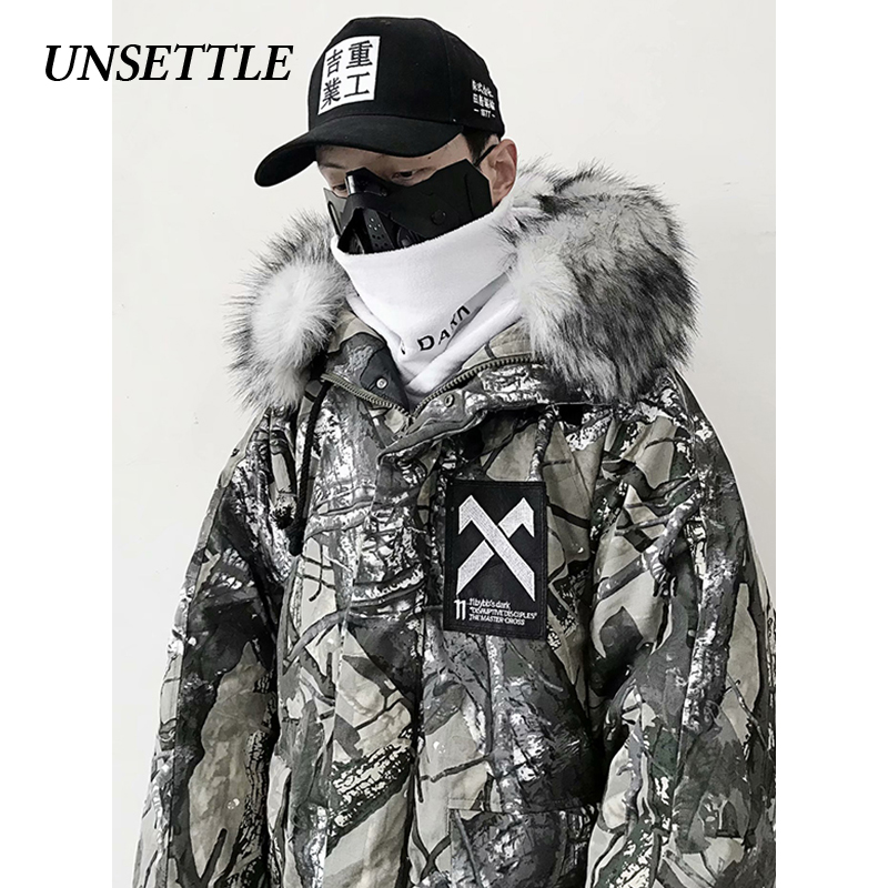 UNSETTLE 2019 Parka Men Cotton Padded Jacket Hooded Winter  Warm Thick Jackets Outerwear Hip Hop Fur Collar Streetwear Oversize
