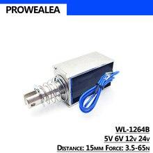 Elektromagnes typ Pull Push WL-1264B 5V 6V 12V 24V siła nacisku 3.5-65N 15mm otwarta ramka liniowy magnes elektryczny