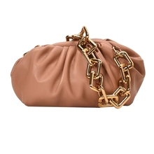 New Cowhide Woven Bag Gold Chain Cloud Bag Leather Pleated