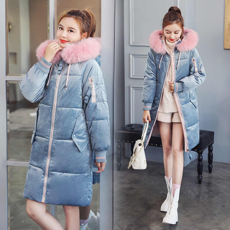 Down parka women's loose golden velvet  jacket Korean version student winter medium long parka women for winter new parka 1811