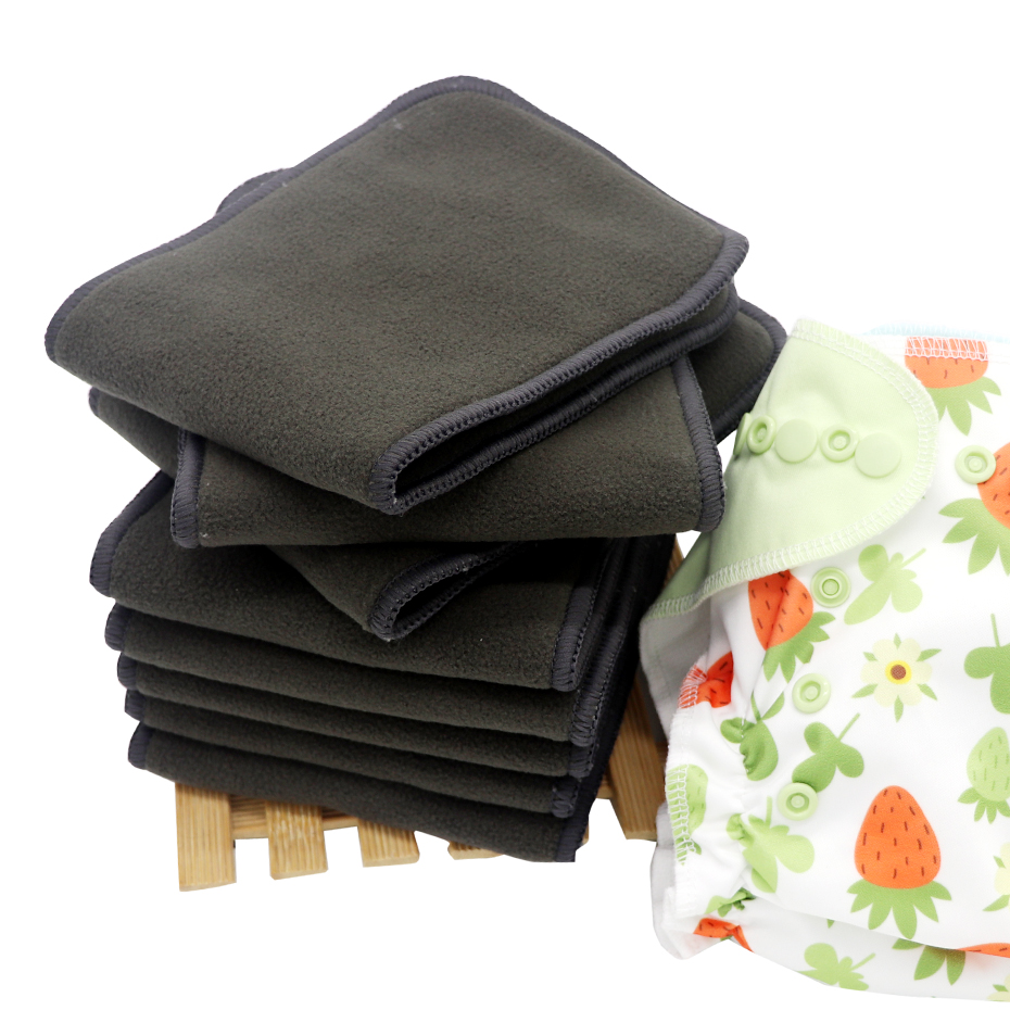 Diaper Insert Bamboo Reusable Soft 4 Layers 5 Pack Bamboo Charcoal Inserts For Baby Cloth Diaper High Absorbing Washable Liners