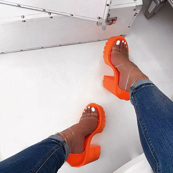 Gladiador tacones altos Color caramelo tacones de plataforma Peep Toe mujeres tacones bombas de Mujer Transparente banda estrecha sandalias transparentes