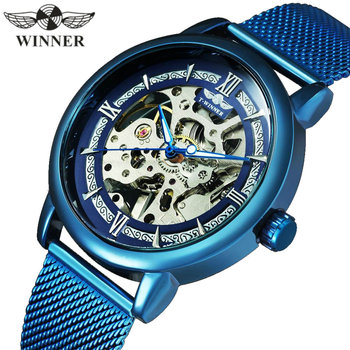 WINNER Official Fashion Casual Men Mechanical Watch Blue Mesh Strap Ultra Thin Skeleton Mens Watches Top Brand Luxury Clock 2019 dom men watches top brand luxury quartz watch casual quartz watch black leather mesh strap ultra thin fashion clock male relojes