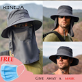 Summer Quick dryng uv protection fisherman cap Face Neck cover outdoor fishing cycling removable mask men Visor hat bucket hat