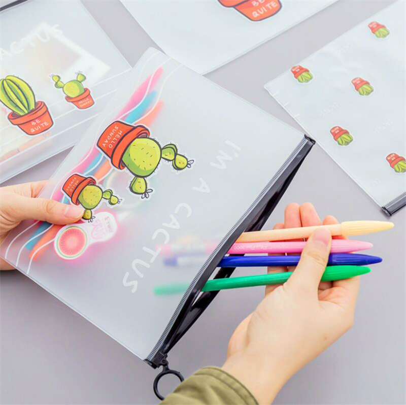 2019 Cactus Pencil Case Kawai School Supplies High Capacity Kalem Kutusu Material Escolar Pencilcase Pen Case Cute Stationery
