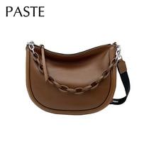 Messenger-Bag Crossbody-Bag Shoulder Fashion Soft-Purse Chain-Design Solid-Color Women