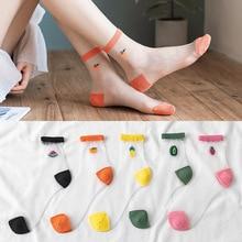 2020 New 1Pair Breathable Fruit Socks For Women Girl Female Summer Cute Love Transparent Comfortable Short