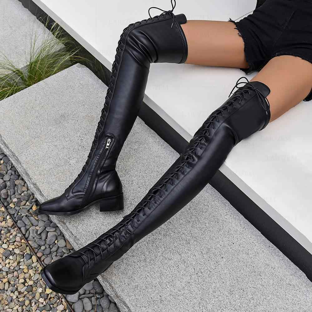 LAIGZEM Women Thigh High Boots Leather