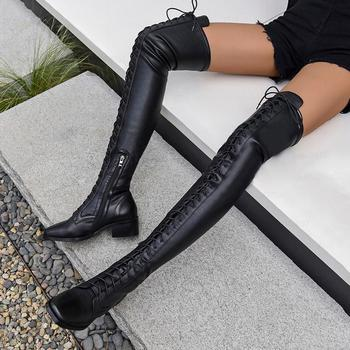 LAIGZEM Women Thigh High Boots Leather Suede Low Block Heels Boots Wide Calf Friendly Lace Up Shoes Woman Botas Size 33 40 43