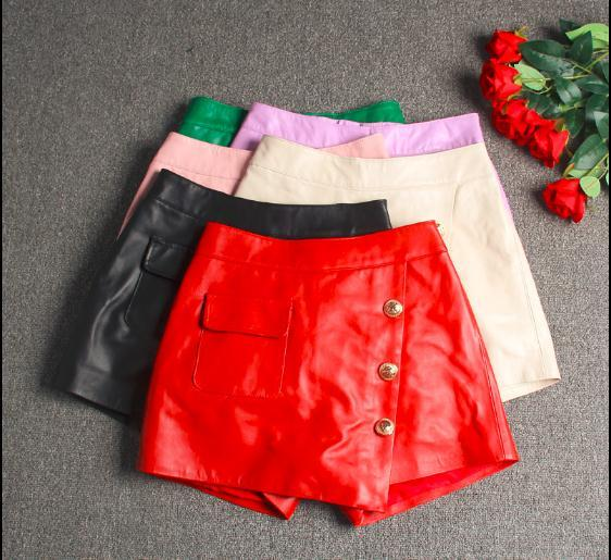 Free Shipping,Brand Genuine Leather Womens Shorts.fashion Soft Sheepskin Slim Short Pants,quality Female Lady Sexy Shorts.