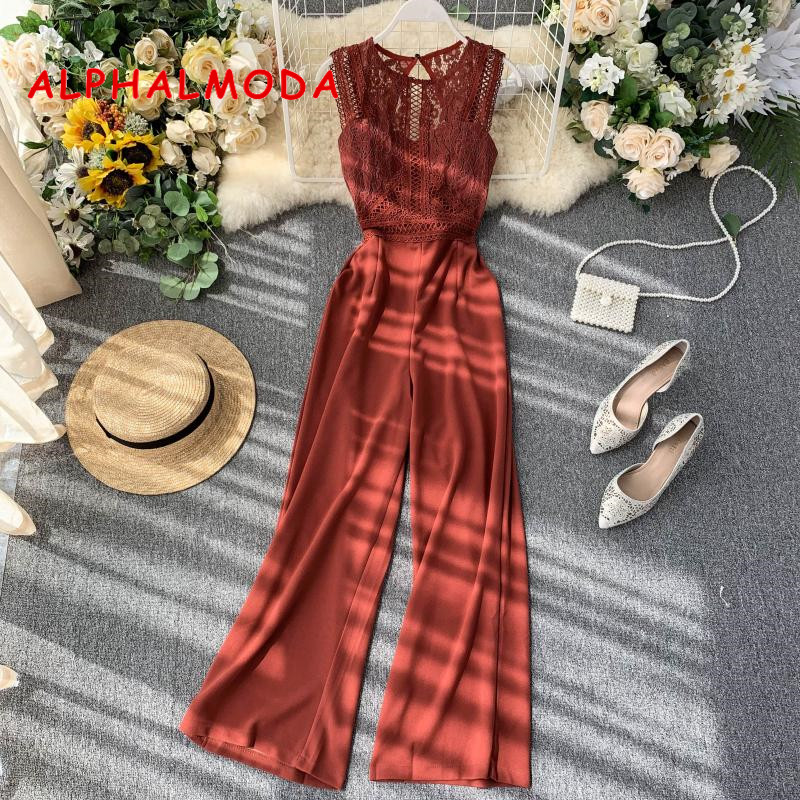 ALPHALMODA Hollow Back Sexy Women Lace Patchwork Rompers Sleeveless Solid Color Straight Leg Women Fashion Jumpsuit