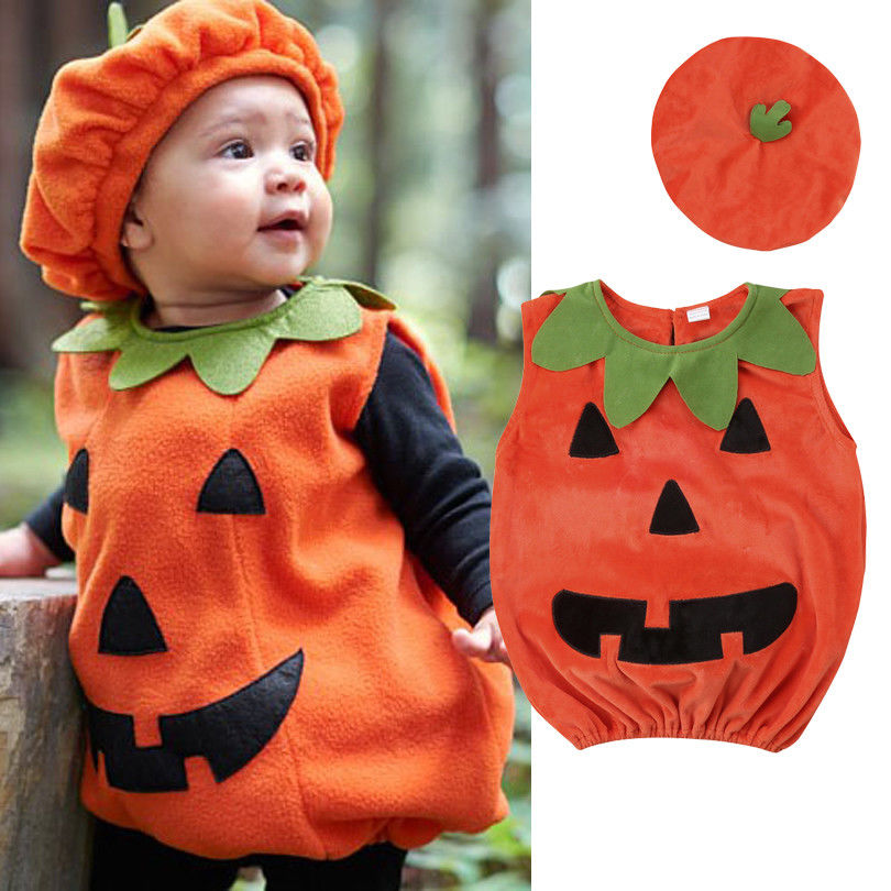 0-3Years Newly Cosplay Halloween Toddler Baby Kid Pumpkin Print Sleeveless   Romper   Jumpsuits Tops+Hats Clothes 2PCS Costumes