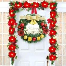 Festa feliz Natal Poinsettia Grinalda Pequeno Sino de Porta Guirlanda Decoração de Parede internas Decorações Новогоднее украшение