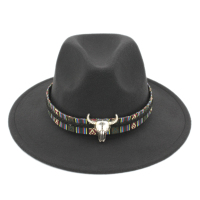 Mistdawn Men Women Wool Blend Panama Hats Wide Brim Fedora Trilby Caps Bull Skull Braided Belt