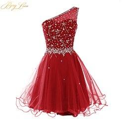 Короткое платье для выпускного вечера Berylove, темно-красное мини-платье из тюля с кристаллами и бисером, вечерние платья для девочек, 2019