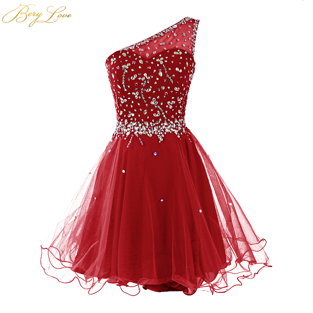 Berylove One Shoulder Homecoming Dress 2019 Dark Red Mini Crystals Beaded Tulle Short Girl Gown Prom Dress Mini Party Dress