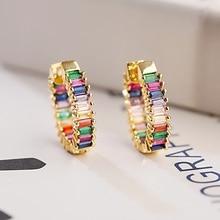 Classic Rainbow Zircon Stud Earrings Jewelry For Women Fashion Gold Circle Earrings Round Earrings Jewelry Gift
