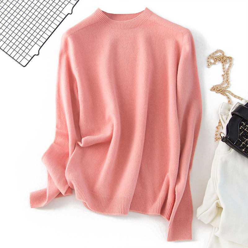 Shuchan 100% Wool Sweaters Fashion 2019 Women Basic O-Neck Pullovers Solid and for Winter News