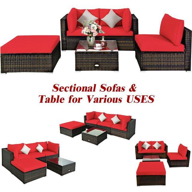 5PCS Patio Furniture Set w Red Cushions  5