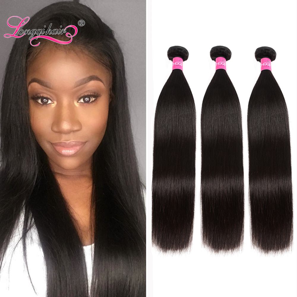 Longqi Straight Hair Bundles High Ratio 8 - 30 Inch Bundles Peruvian Hair Bundles Remy Hair Human Hair Weave Bundles 1/3/4 PCS