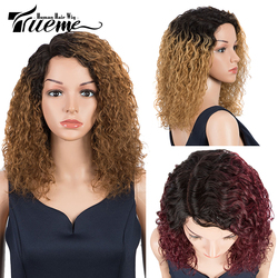 Trueme Ombre Part Front Lace Wig Remy Brazilian Water Wave Lace Front Human Hair Wigs Brown Red Black Green Color Fashion Wig