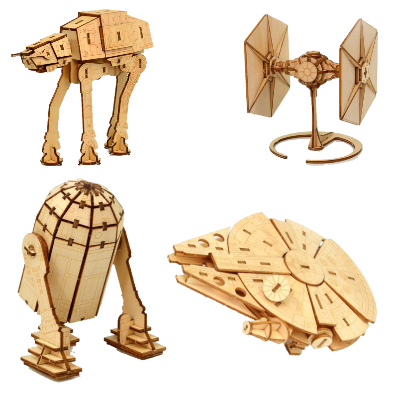 Star Wars Awakens Falcon Toys 3d Wooden Puzzle Toy Assembly Model Wood Starwars Craft Kits Desk Decoration For Children Kids