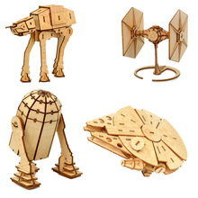 Star Wars Awakens Falcon Toys 3d Wooden Puzzle Toy Assembly Model Wood Starwars Craft Kits Desk Decoration For Children Kids недорого