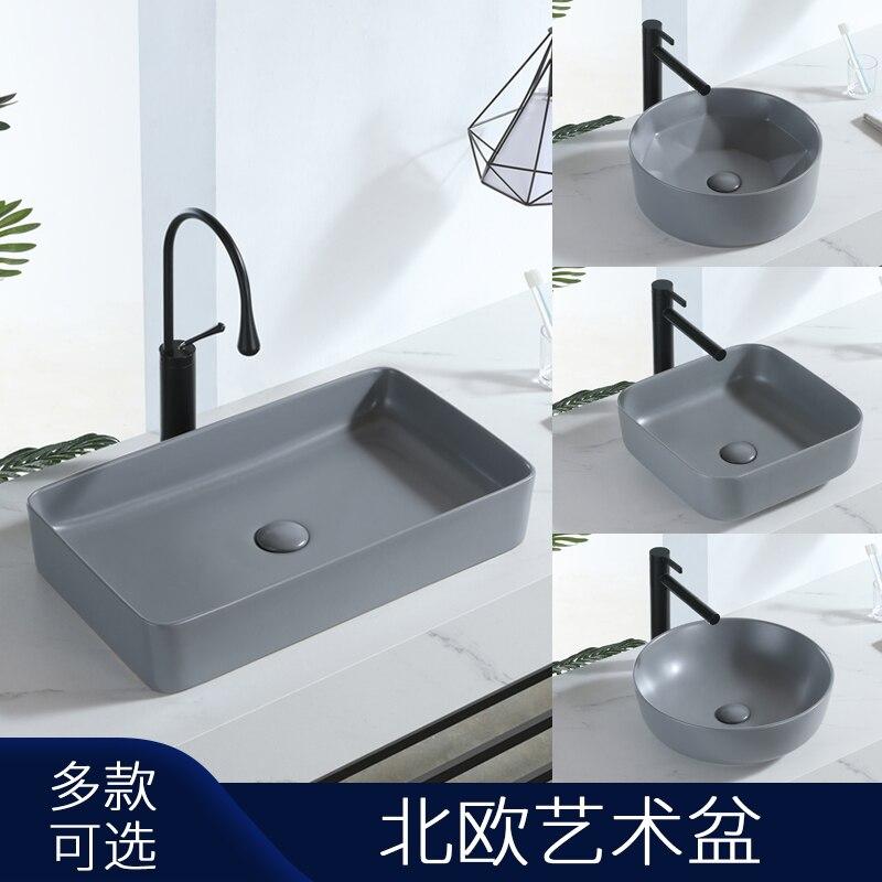 Matte Gray Counter Basin Wash Basin Bathroom Countertop Shampoo Sinks Square Thin-edged Ceramic Toilet Art Basin Vessel Sink