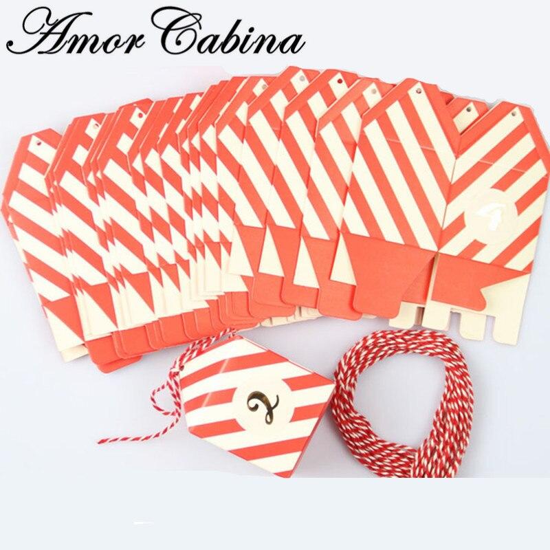 48 pièces Creative rouge et blanc rayé boîte-cadeau de mariage comme boîte à bonbons Bomboniera avec corde bébé douche fête d'anniversaire événement cadeau