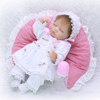 41cm little princess Baby Reborn Doll Special closed eye style Realistic Reborn Babies Silicone Doll Kids Gift toy with a hat