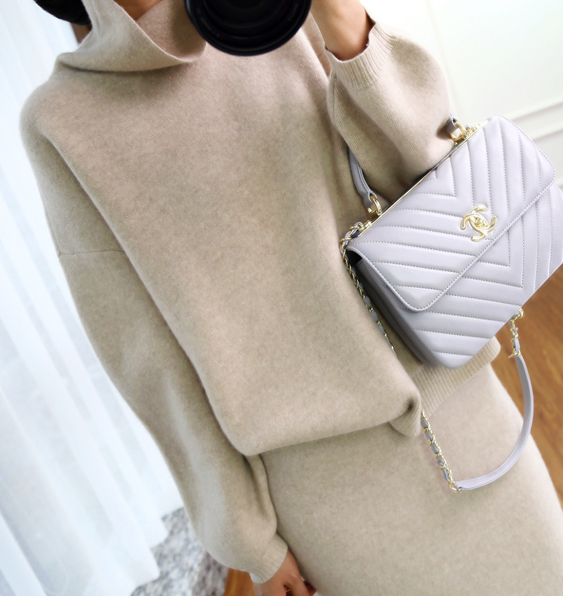 18 Autumn And Winter High Collar Cashmere Sweater Korean-style Loose-Fit Sweater Women's Knitted Two-Piece Set Sheath Thick Cash