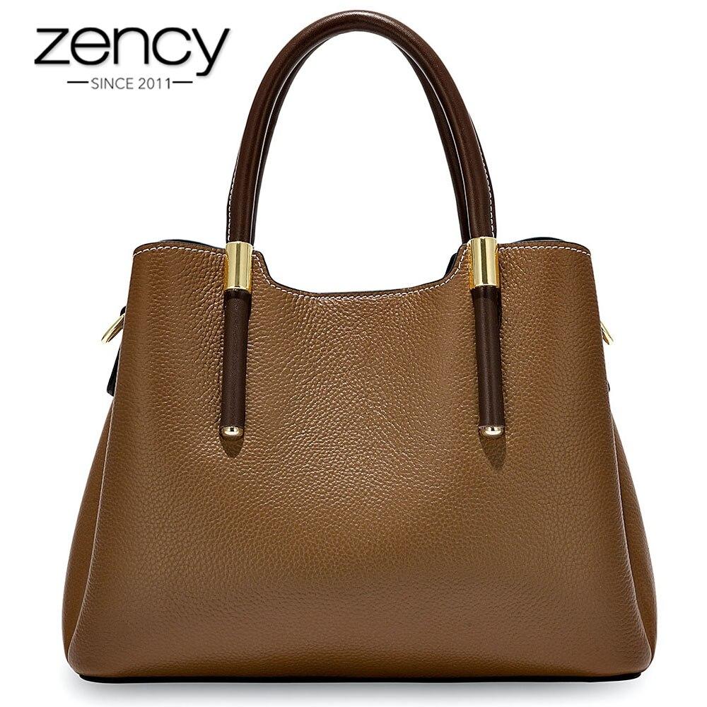 Zency More Pretty Colors Handbag 100% Genuine Leather Casual Tote Fashion Lady Crossbody Messenger Purse Business Bag Brown