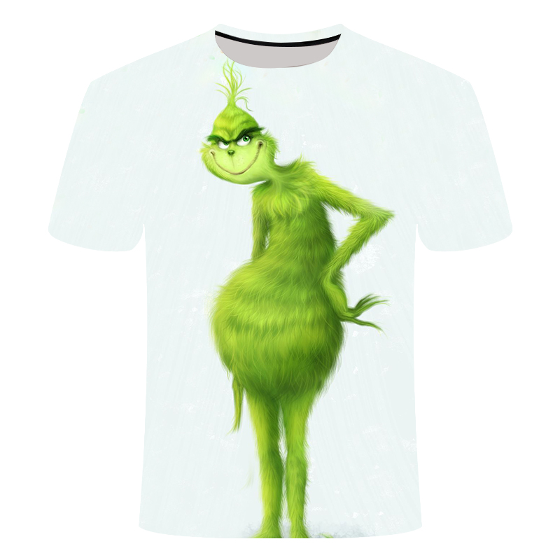 Новинка 2019 года; модная летняя футболка для мужчин и женщин с принтом из мультфильма «The Grinch»; Повседневная футболка для мальчиков с 3D