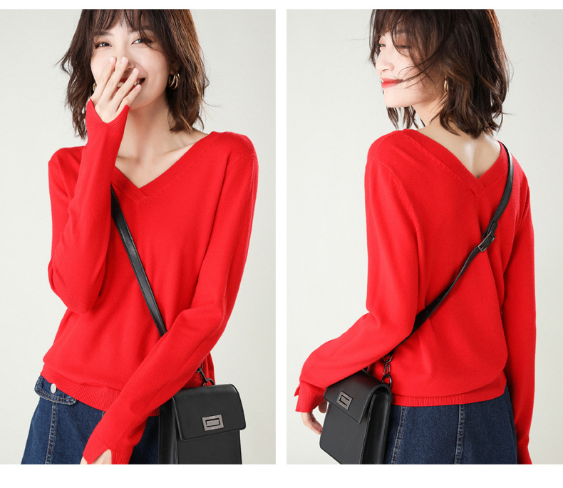 Fashion V-neck Sweater Women Winter Cashmere Jumpers New Wool Knit Female Long Sleeve Thick Pullover Top Women Christmas Jumper 18