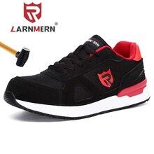 Larnmern男性の鋼つま先の作業安全靴通気性軽量抗スマッシング反射建設保護靴