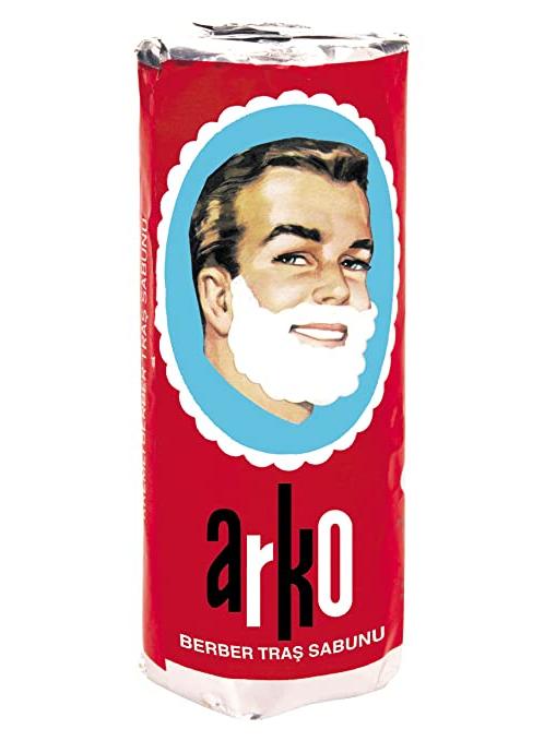 ARKO Shaving Soap Stick Barber Creamy Lather Foam Safety Razor Brush Shave White Easy Comfortable 75 GR