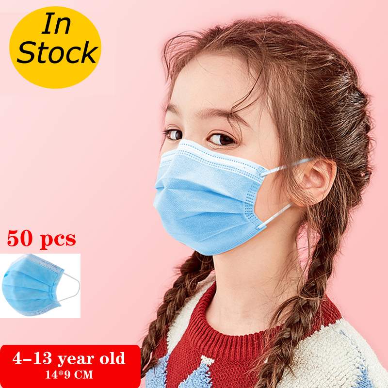 50/100pcs Child Size3-Layer Ply Filter Elementary School Student Masks,Anti-dust Safe Breathable Disposable Child Kids Face Mask