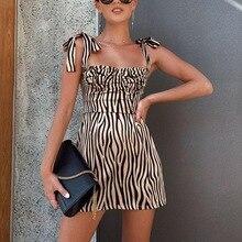 Women Fashion Slim Zebra Stripe Print Dress Sleeveless Adjustable Spaghetti Strap Lace Up Casual Vestidos 2019 Summer New