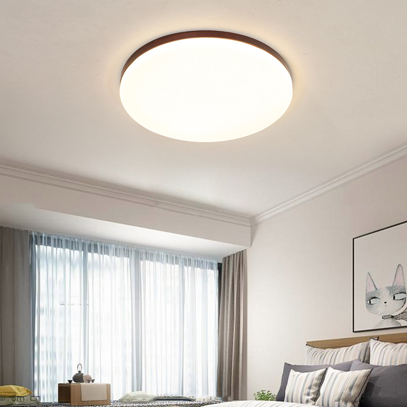 Round Bedroom Ceiling Lights Ultra-thin Solid Wood Study Lamp Walnut Color LED Nordic Style Personality Lighting