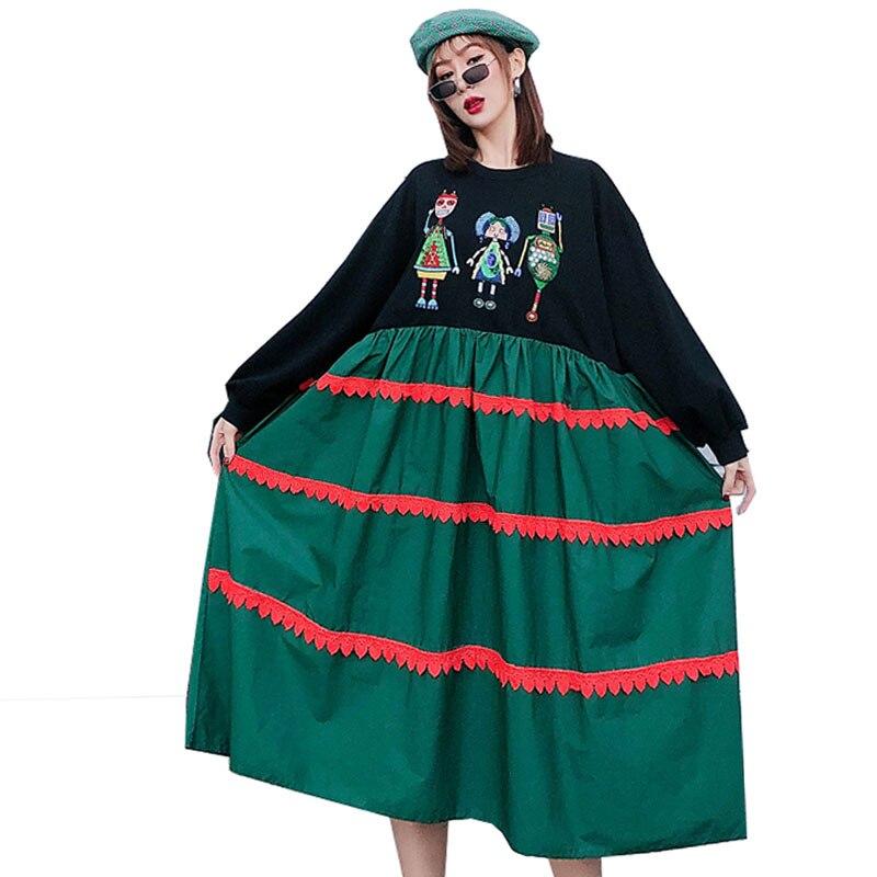 QING MO vert violet femmes robe de grande taille 2020 femmes dessin animé imprimé robe femme Streetwear robe ample personnalité ZQY2609