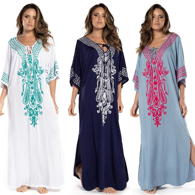 2021 Indie Folk Lace Up V-Neck Batwing Sleeve Summer Beach Dress  Tunic Women Beachwear kaftan Maxi Dress Robe Sarong N775 1