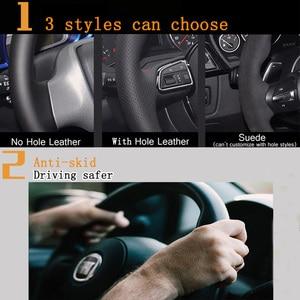 Image 3 - KUNBABY الأسود الجلد المدبوغ اليد مخيط سيارة غطاء عجلة القيادة ل Volkswagen جولف 6 GTI MK6 VW بولو GTI Scirocco R Passat CC R لين