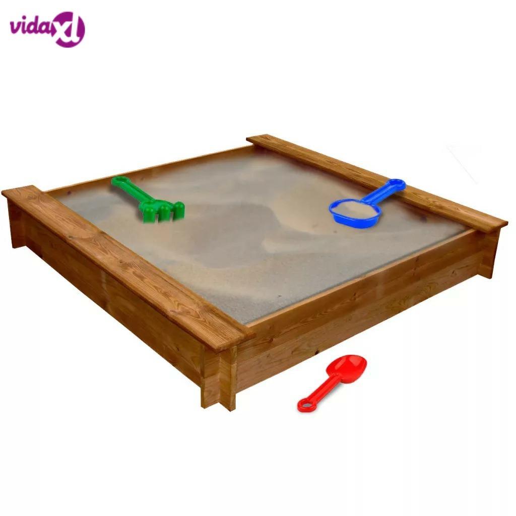 VidaXL Rot-Resistant Sandpit FSC Wood Square 120 X 120 X 20 Cm (L X W X H) Suitable For Children Aged 3+ Outdoor Entertainment